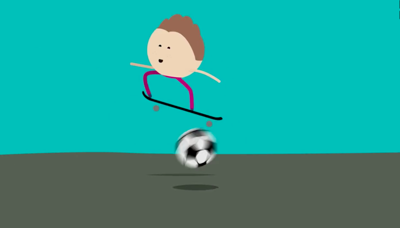 cartoon girl on skateboard jumping over a football