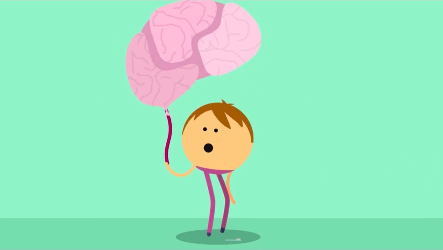 Cartoon character holding a pumped up brain baloon