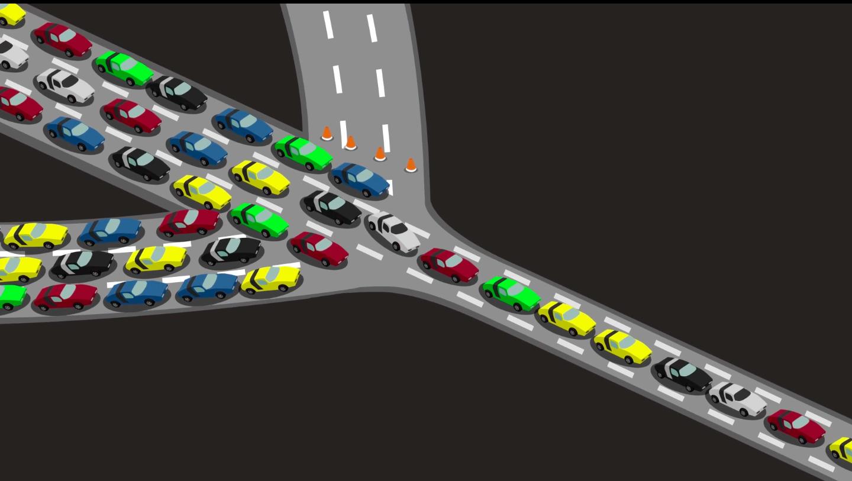 cartoon cars on a road at a bottleneck