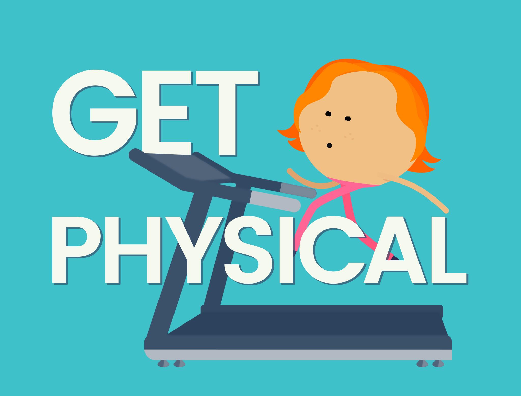 Cartoon girl running on a treadmill (illustration) Get Physical
