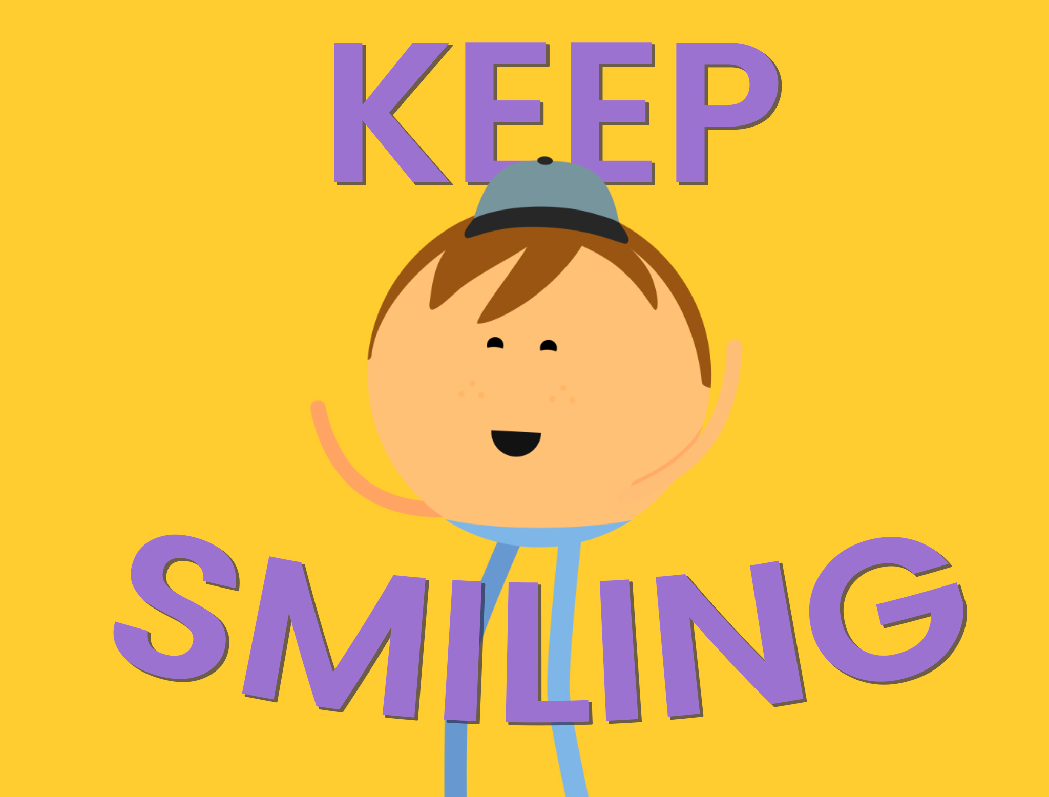 Words Keep Smiling - cartoon character smiling