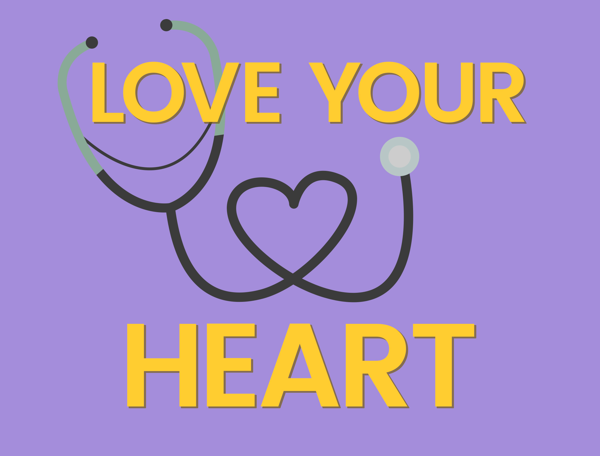Words Love your heart - Cartoon of a stethescope in shape of heart