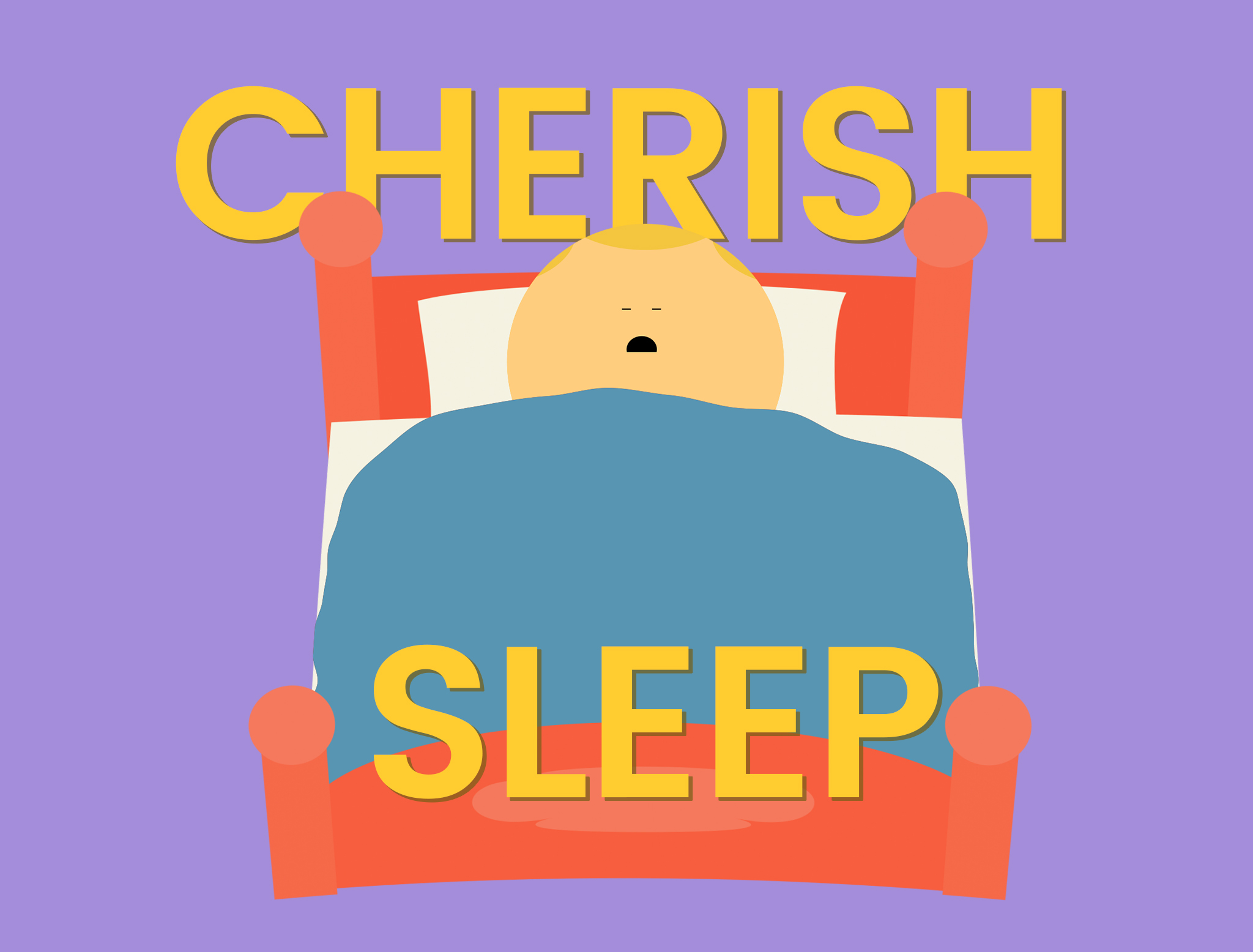 Words Cherish Sleep - Cartoon character in bed asleep