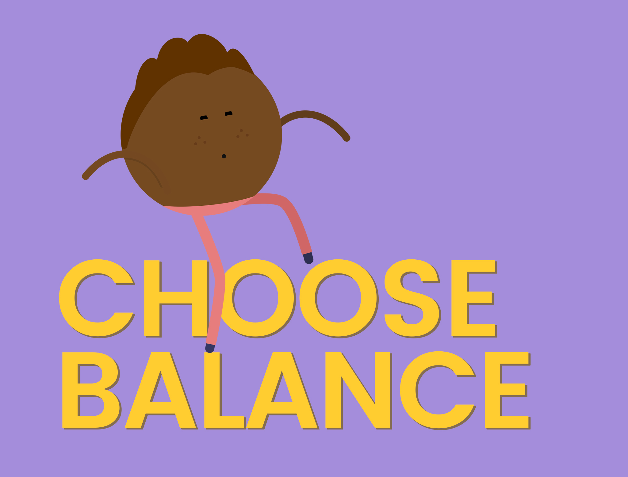 Words Choose Balance Cartoon character balancing on the words
